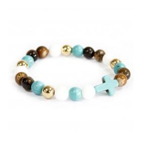 Bracelet pierre fine-Croix turquoise/mix de pierres