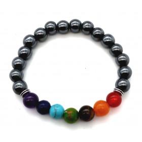 bracelet pierre naturelle Hématite 7 Chakras 8mm