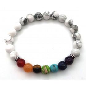 bracelet pierre naturelle Howlite blanche 7 Chakras 8mm