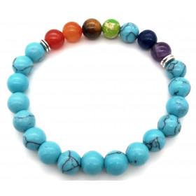 bracelet pierre naturelle en Turquoise 7 Chakras 8mm