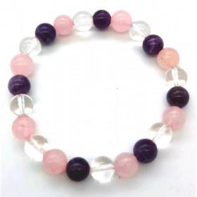 bracelet pierre naturelle en cristal quartz et améthyste 8mm