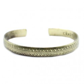 Bracelet en Cuivre Jaune Tibétain - Petite feuille tribale  ( livraison offerte)